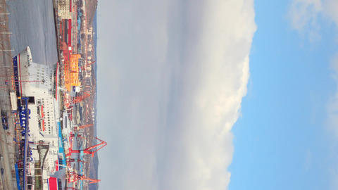 Vertical video. Ships in the port of Gothenburg. Sweden Footage