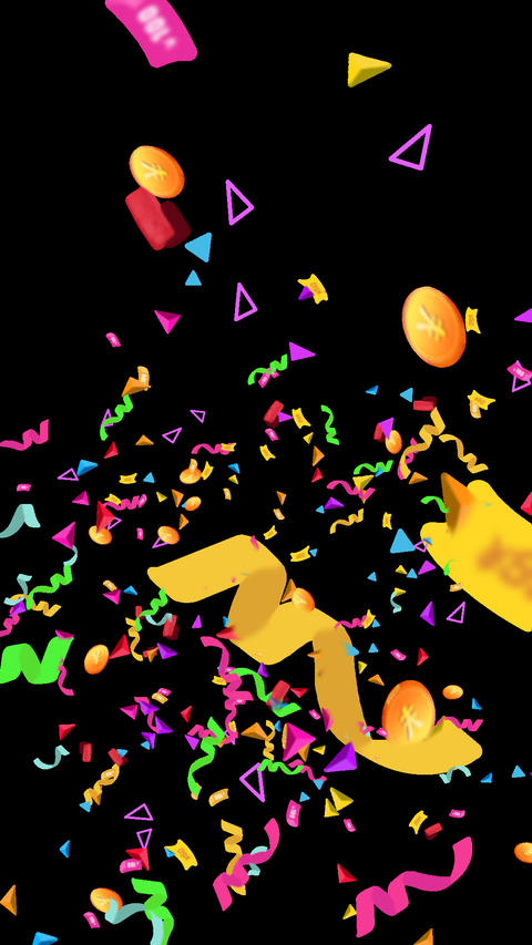 Confetti,celebration ribbons and gold coins Animation