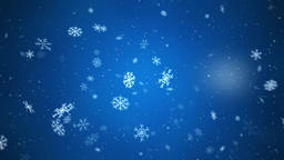 Snowflakes falling with side wind, small and medium snow, loopable on blue Animation