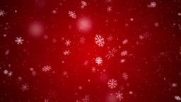 Snowflakes falling with side wind, loopable on red background Animation