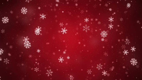Snowflakes slowly rotating and falling down, loopable on red background Animation