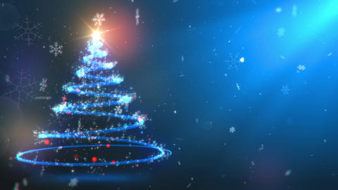 Magic Christmas Fir Tree appearing in the left screen side with flying snow Animation