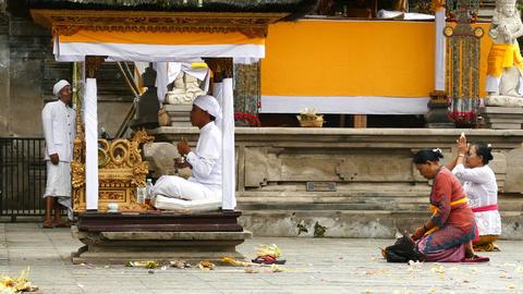 Balinese pray at Tirta Empul Temple, Bali Footage