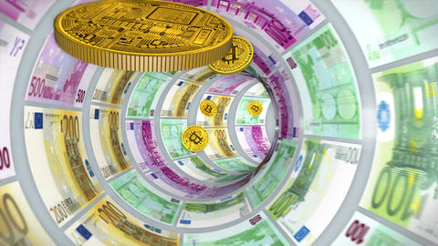 Flight bitcoins through a tunnel of euro bills Animation