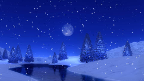 Fir forest and frozen lake at snowy winter night Cinemagraph Animation