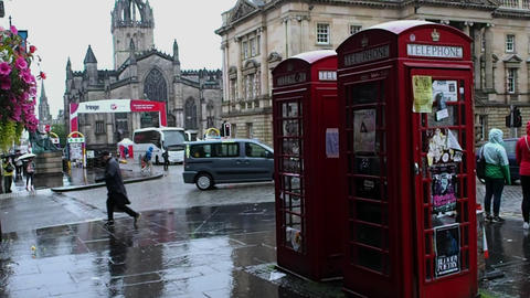 telephone booths, Scotland Footage