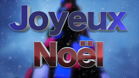 Merry Christmas French Language Background Loop Footage