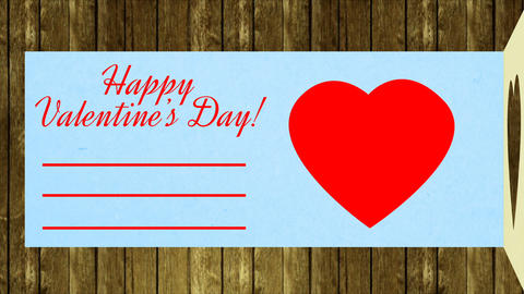 Greeting card open happy valentines day. Celebrate holiday red heart beat Footage