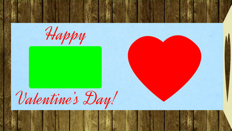 Congratulates Valentines Day. Greeting card open and wish happy valentines day Live Action