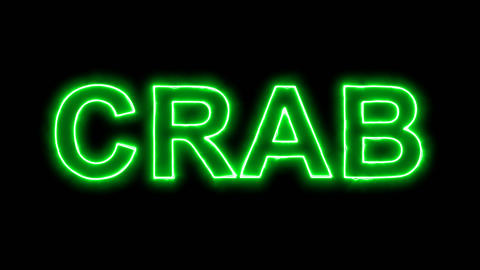 Neon flickering green constellation of a CRAB in the haze. Alpha channel Animation