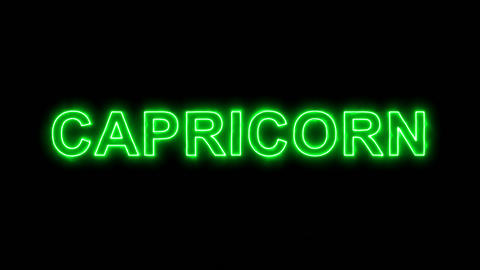 Neon flickering green constellation of a CAPRICORN in the haze. Alpha channel Animation