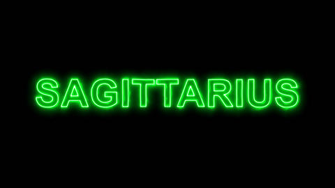 Neon flickering green constellation of a SAGITTARIUS in the haze. Alpha channel Animation
