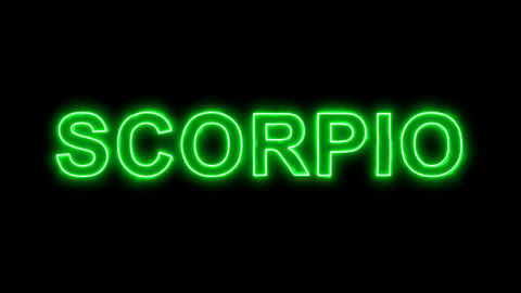 Neon flickering green constellation of a SCORPIO in the haze. Alpha channel Animation