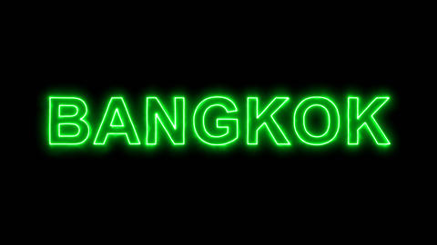 Neon flickering green capital name BANGKOK in the haze. Alpha channel Animation