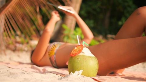 Young Tourist Woman in Bikini Lying Sunbathing on Tropical Paradise Sandy Beach Footage