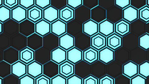 Abstract 3d background made of black hexagons on blue glowing ba Photo