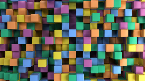Wall of blue, green, orange and purple cubes Photo