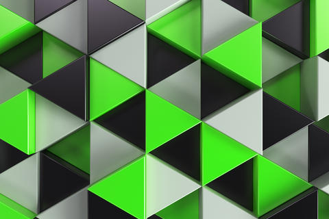 Pattern of black, white and green triangle prisms Photo