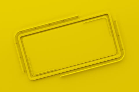Rectangular colored plate with corners from tubes フォト