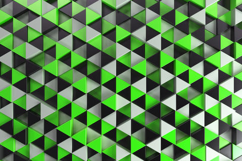 Pattern of black, white and green triangle prisms フォト