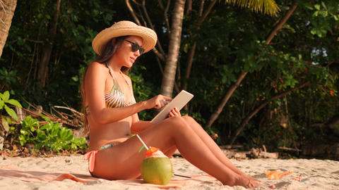Young Mixed Race Attractive Girl in Bikini Sunbathing on Tropical Paradise Sandy Footage