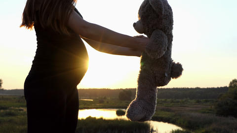 Lovely monet - young pregnant girl play with bear at sunset Footage