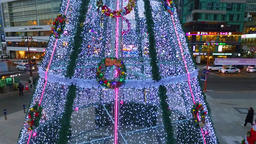 Aero View of Big Christmas tree at Haeundae Beach, Busan, South Korea, Asia ビデオ