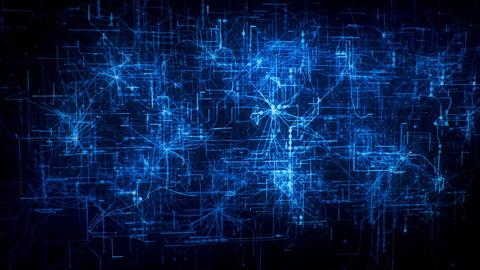 3D Blue MultiLayer Matrix Net Grid Intro Logo Motion Background Animation
