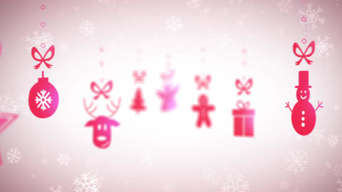 Funny Christmas background with falling holiday icons, looped 画像