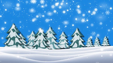 Snowing on a bench in a forest, winter scene, video 4K Animation