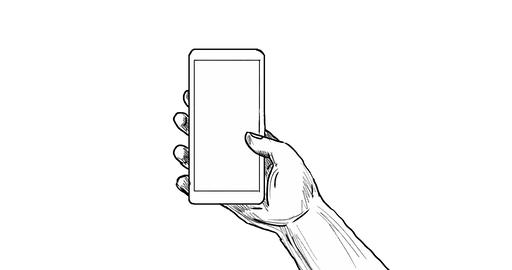 Hand Holding Cell Phone Drawing 2D Animation Animation