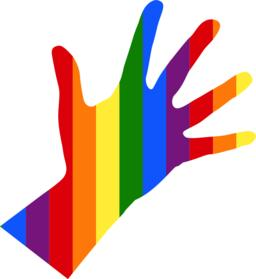 silhouette of left female hand in colors of flag LGBT ベクター