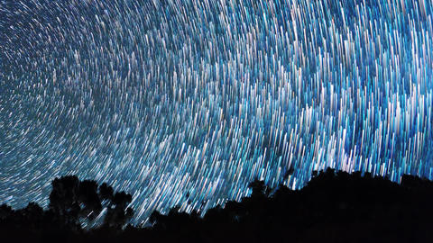 The stars revolve around the polar star. There are disappearing tracks Footage