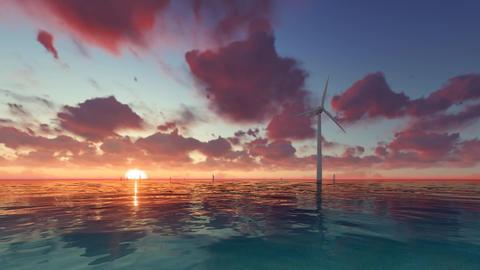 Wind generator at sunset on sea Footage