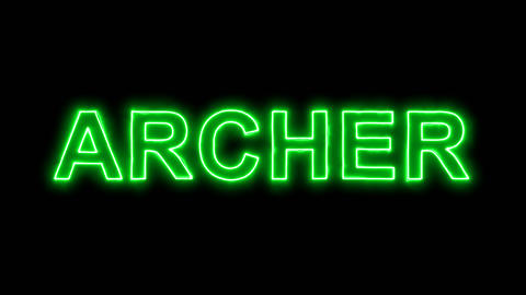 Neon flickering green constellation of a ARCHER in the haze. Alpha channel Animation