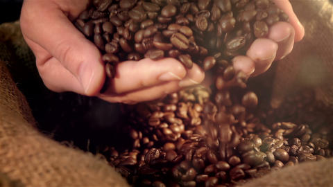 Video of taking coffee beans in real slow motion Live Action