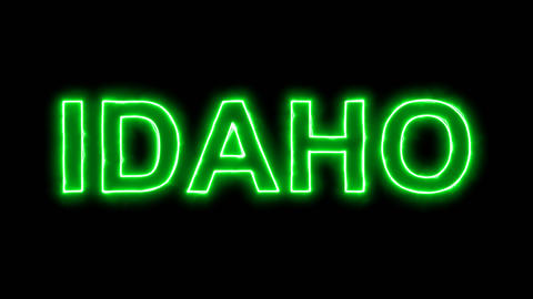 Neon flickering green State Name IDAHO in the haze. Alpha channel Premultiplied Animation