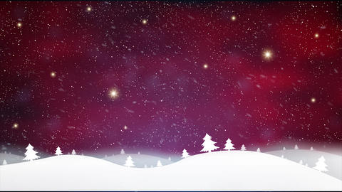 Red Christmas background with motion snow stars light illustration ビデオ