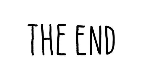 Ink Hand Drawn The End Title Animation on White Background. Final Background Live Action