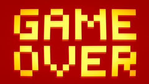 Game Over. Retro Pixel Art Style Message on Old School Arcade Machine. 4K Footage