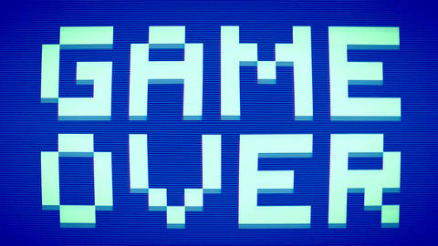 Game Over. Retro Pixel Art Style Message on Old School Arcade Machine. 4K Live Action