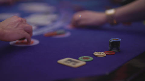 Gambling Black Jack in a casino - gaming chips Live Action