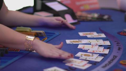 Gambling Black Jack in a casino - dealer at Black Jack Footage