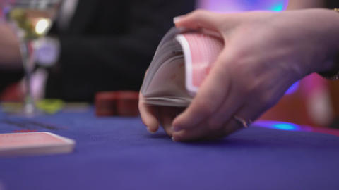 Riffle a deck of cards Stock Video Footage