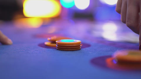 Gambling Black Jack in a casino - close up of gambling chips Footage