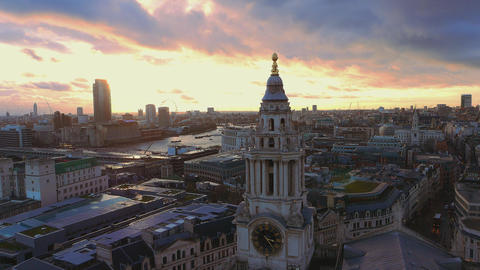 London from above with dramatic evening sky Live Action