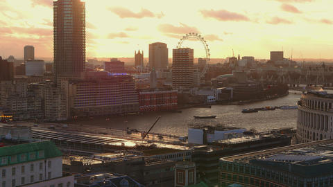 The River Thames in London at sunset Live Action