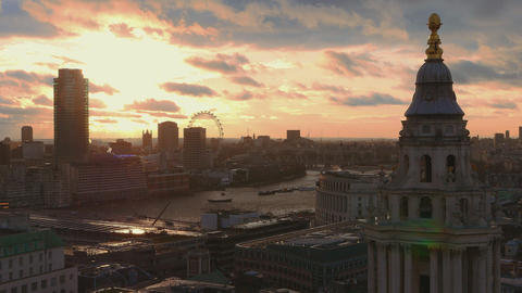 Over the rooftops of London - at sunset Live Action