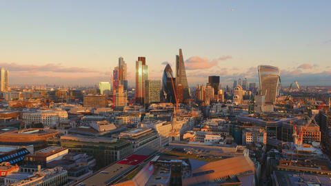 Beautiful London from above at sunset Live Action