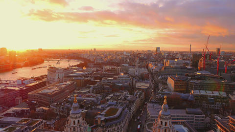 Beautiful sunset over the City of London Live Action